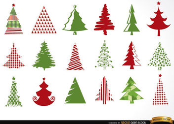 18 Christmas tree icons - Kostenloses vector #181667