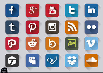 Social media square embossed icons set - Free vector #181717