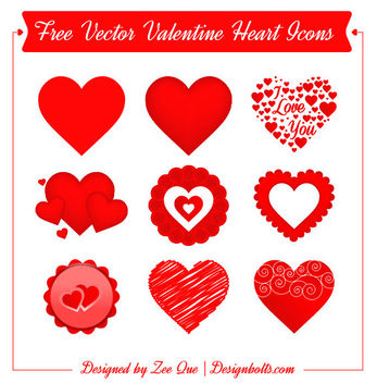 Valentine Heart Icon Set - Kostenloses vector #181747