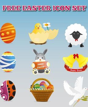 Colorful Easter Decoration Icon Set - Free vector #181757
