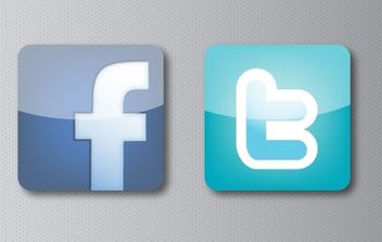 Facebook and Twitter Icons - vector gratuit #181797