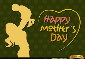 Mom and baby vintage Mother's day - Free vector #181807