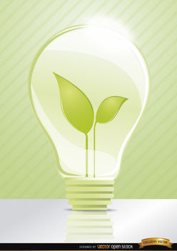 Ecologic idea Light bulb leaves - Free vector #181847