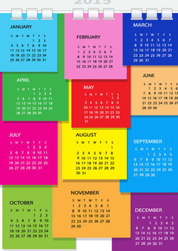 Colorful Dairy Page Spiral Binding 2015 Calendar - Kostenloses vector #182017