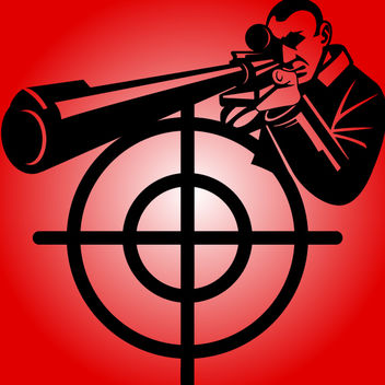 Black & White Sniper with Target Sign - Free vector #182147