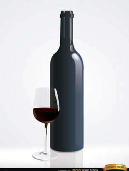 Simple red wine bottle and glass - бесплатный vector #182197