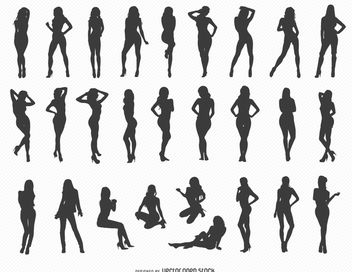 Sexy Girl Silhouettes - vector gratuit #182287