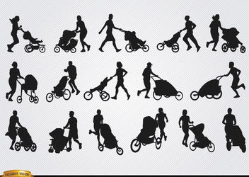 Parents with baby carriage silhouettes - Free vector #182357