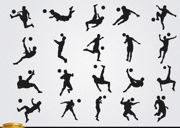 Soccer players' hitting ball jumping silhouettes - Free vector #182367