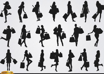 Women shopping silhouettes - Free vector #182387