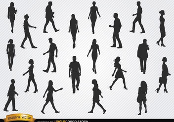 Walking people silhouettes set - vector gratuit #182397