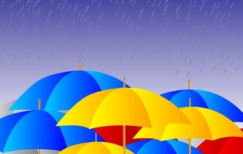 Free Umbrellas in the rain Vector - Free vector #182487