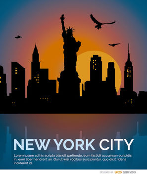 New York sunset skyline - vector gratuit #182507