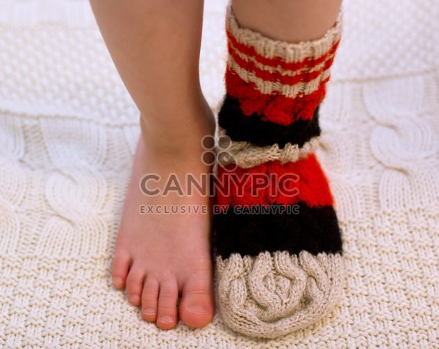 Child's feet in warm sock - Free image #182557