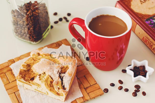 Cup of coffee, piece of pie, coffee beans and book - Free image #182747