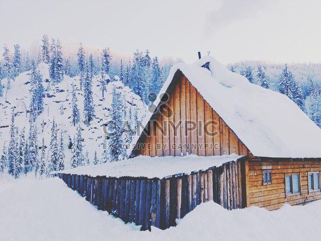 Деревянный дом, покрытый снегом - бесплатный image #184007