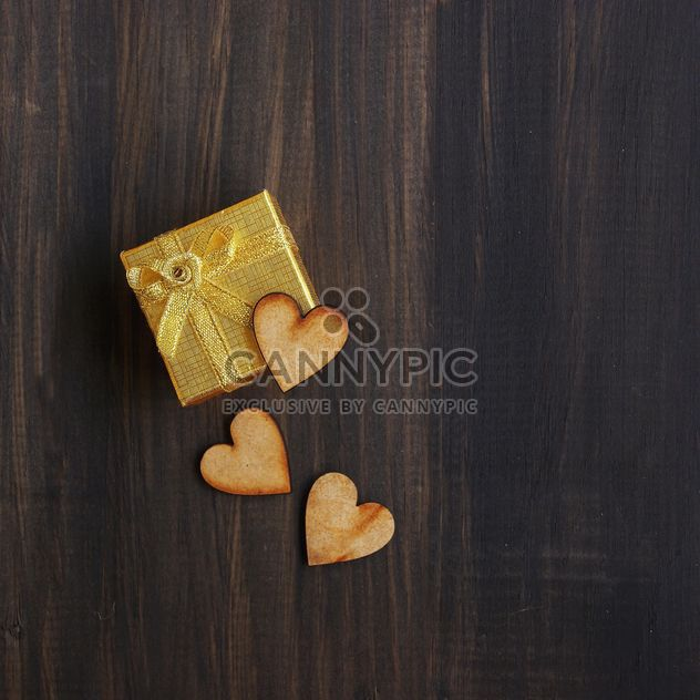 box for gift and wooden hearts - Free image #184057