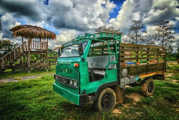 Old truck on green field - бесплатный image #186137