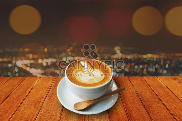Coffee latte on wooden table - Free image #186957