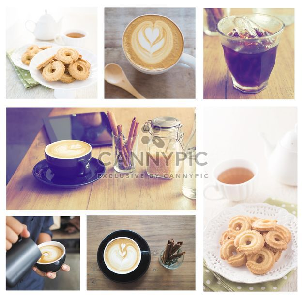Collage of photos with coffee and cookies - Free image #187017
