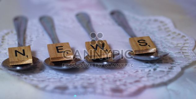 Four spoons with alphabet wooden - Free image #187437