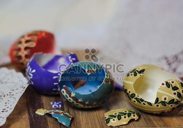 broken Easter Eggs On a table - Free image #187457