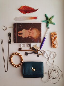 Necessary things from female handbag over white background - Kostenloses image #198717