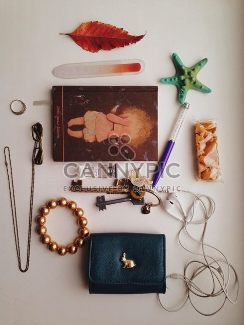 Necessary things from female handbag over white background - Free image #198717