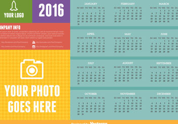 2016 calendar - vector gratuit #199117