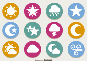 Flat weather icon set - vector gratuit #199247