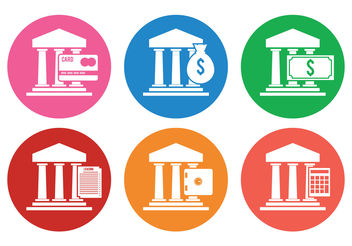 Bank Icon Vectors - Free vector #199457