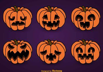 Smiling Pumpkins set - Free vector #199507