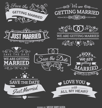 9 Chalk emblems for wedding invitations - Free vector #199557