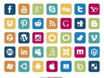 Set of Social Media Icons - Kostenloses vector #199567