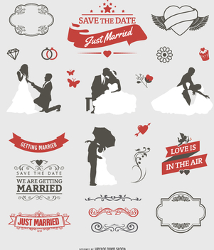 Wedding graphic set - Free vector #199677