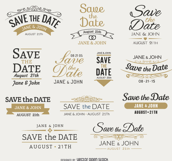 Save the date Emblems - Free vector #199717