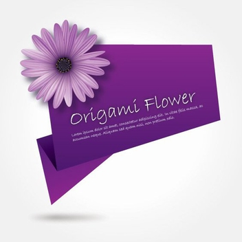 Purple Flower Origami Banner - vector gratuit #199727