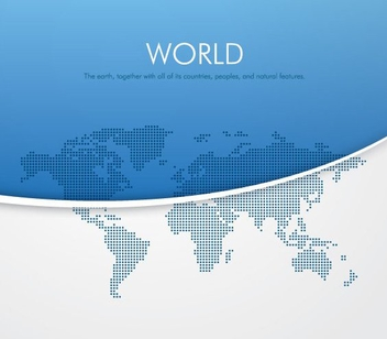 Pixilated World Map Blue Background - vector gratuit #199817