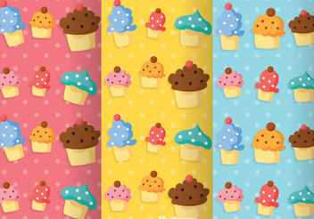 Cupcake Girly Pattern Vectors - Free vector #199887