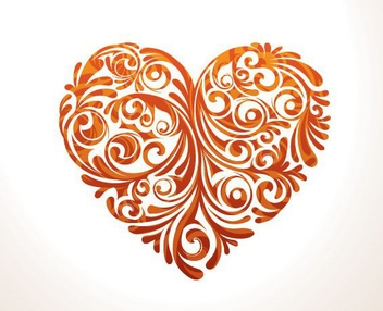 Floral Ornamented Heart - Free vector #200067