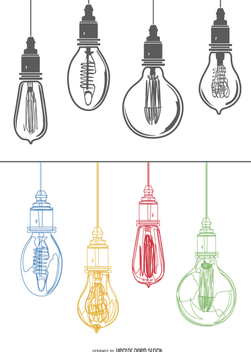 Edison colorful light bulbs - vector gratuit #200507