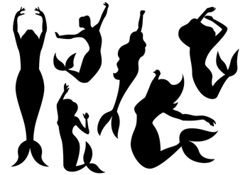 Dancing Mermaid Shilouette - Free vector #200617