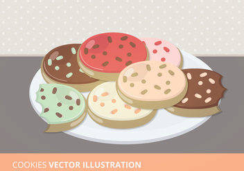 Plate of Cookies Vector Illustration - Free vector #200847