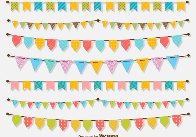 Set of lines of buntings - vector gratuit #201177