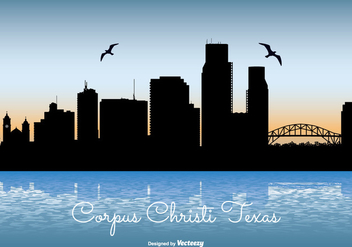Corpus Christi Texas Skyline Illustration - Free vector #201217