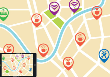 Wifi Map Vector - vector gratuit #201347
