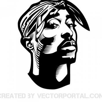 2Pac Shakur Vector Portrait - Kostenloses vector #201827