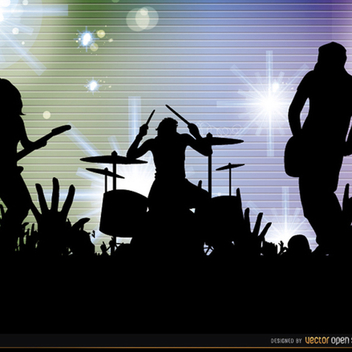 Free Vector Rock Band Cconcert Silhouettes Background - Free vector #201877