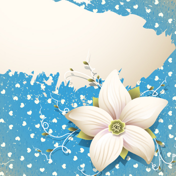 Blue Floral Banner - Free vector #202017