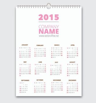 2015 Vector Calendar - Kostenloses vector #202137